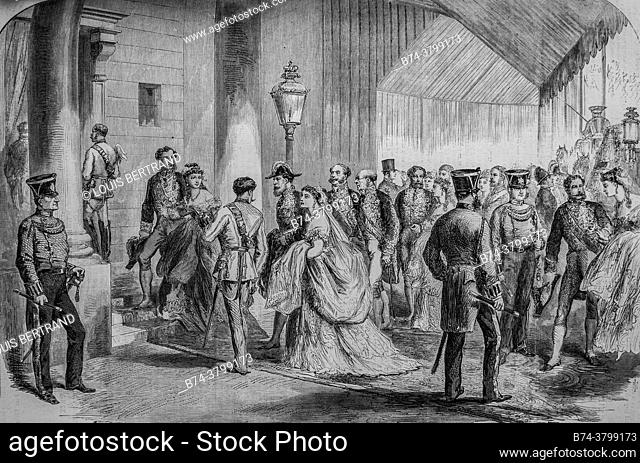 the members of the upper english aristocracy going to take leave of his british majesty before leaving for the continent, the illustrious universe