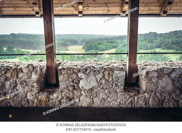 Aerial view from restored castle in Bobolice village, part of the Eagles Nests castle system in Silesian Voivodeship of southern Poland