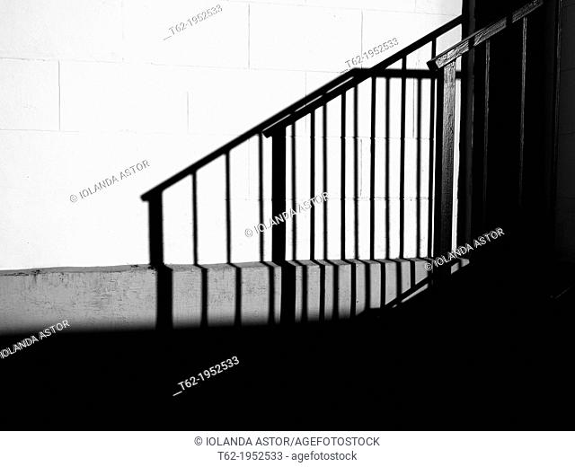 Shadow of a black and white staircase