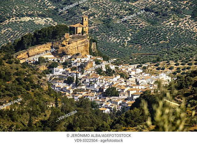 Panoramic view typical Andalusian village of Montefrio. Granada province, southern Andalusia. Spain Europe