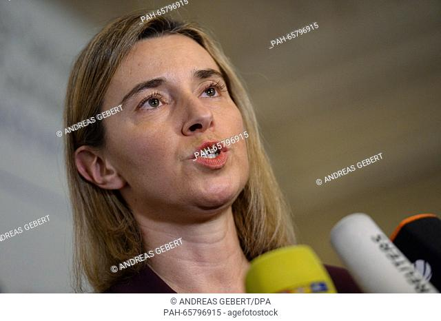 The High Representative of the European Union for Foreign Affairs and Security Policy, Federica Mogherini , speaks during a press conference at the 52nd...