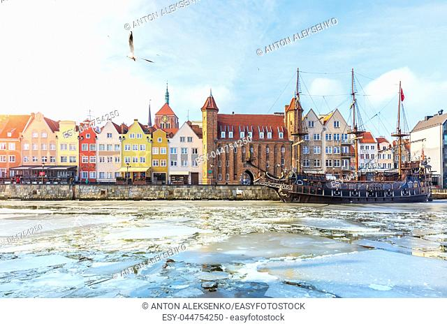 Gdansk sights, view from the winter Motlawa