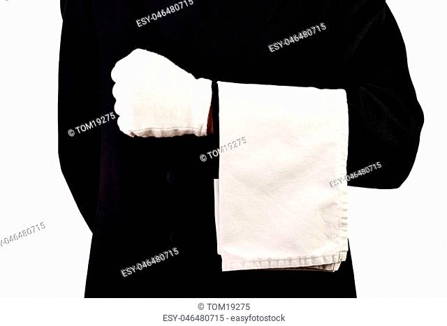 Men with suit, white gloves and towel isolated White background