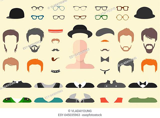 Big vector set of dress up constructor with different men glasses, beard, mustache, wear in trendy flat style. Male faces icon creator