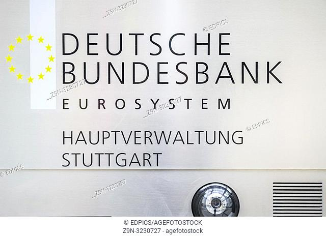 sign at the main office of the german federal bank eurosystem, stuttgart, baden-wuerttemberg, germany