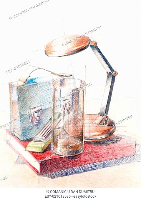 colored still life study on object composition