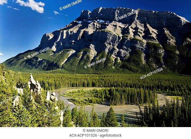 Mount Rundle with Hoodoos in the lower left corner