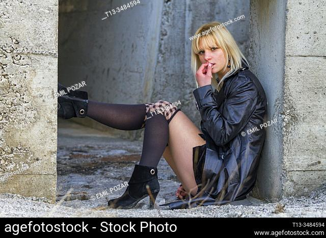 Abandoned young woman