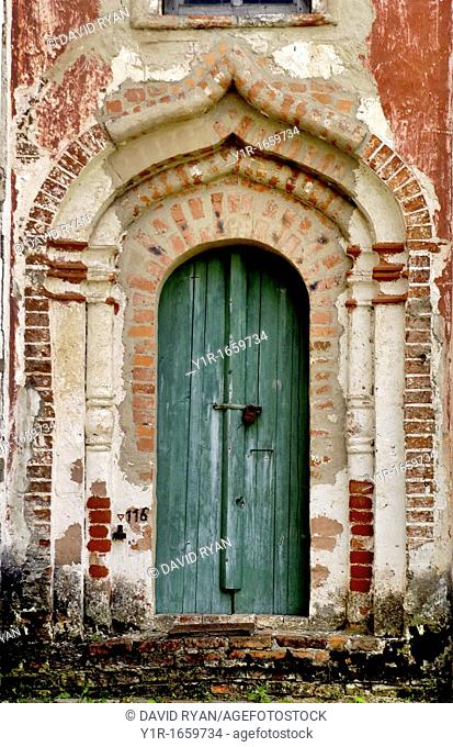 Russia, Goritzy, Monastery of the Resurrection, founded by Saint Cyril in 1397, Door showing some restoration work Vologda Oblast