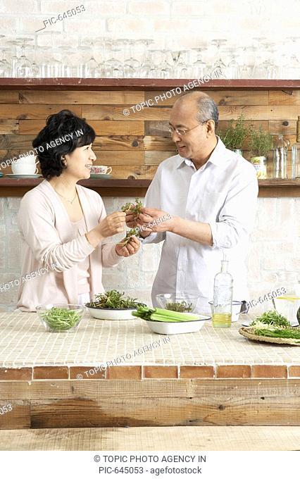 Senior Couple at the Kitchen, Korea