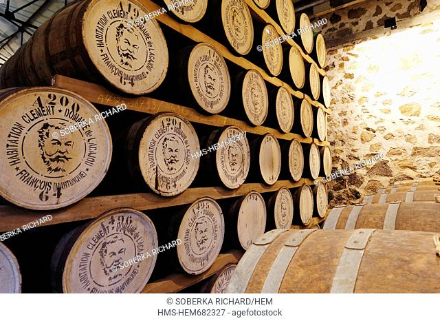 France, Martinique French West Indies, Le Franois, Habitation Clement, Hundreds of barrels of rum in the cellar for storage and maturation of Rhum Clement