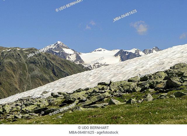 Italy, South Tirol, Trentino, Alto Adige, Vinschgau, Schlanders, Zerminiger, 3109 m, Sonnenberg, Ötztaler alps, increase of St. Martin - Niederjoechel