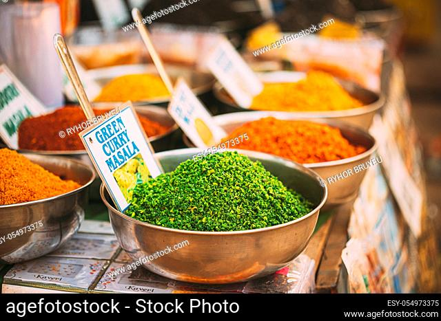 Canacona, Goa, India. Close View Of Coconut Green Masala, Bright Green Color Fragrant Seasoning, Condiment In Tray On Local Food Market, Bazaar