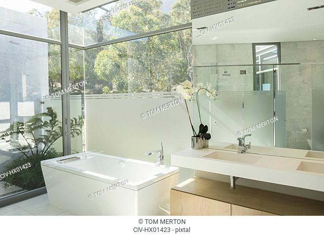 Sunny modern tranquil home showcase bathroom