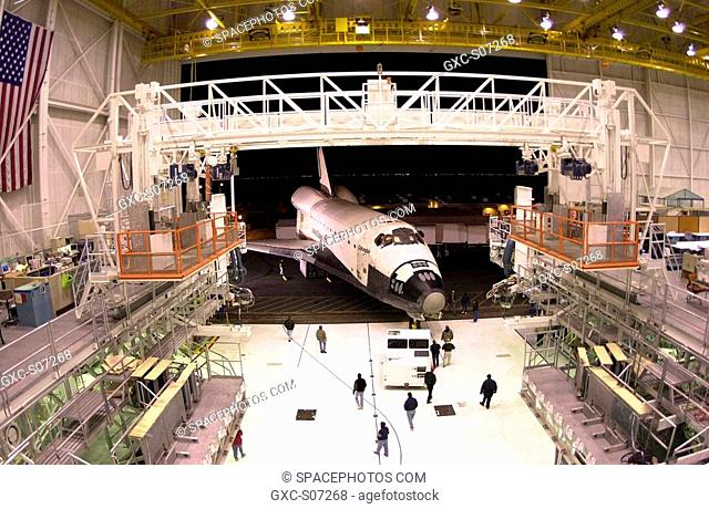 02/24/2001 --- Photo courtesy of Boeing photographer Bob Williams. The orbiter Columbia rolls out of Boeing's Orbiter Assembly Facility in Palmdale, Calif