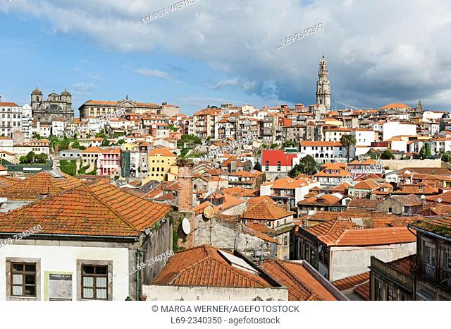 View on Porto City from Cathedral's hill with Torre dos Clérigos, Portugal, Europe