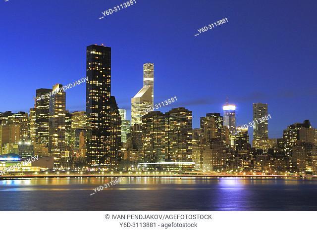 Manhattan Skyline at Dusk, New York, USA