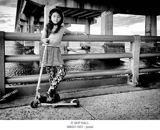 A seven year old girl with her Razor skate