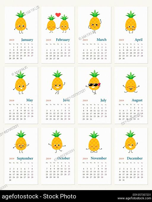 Cute monthly calendar 2019 year with happy pineapple emojis. Week starts on Monday