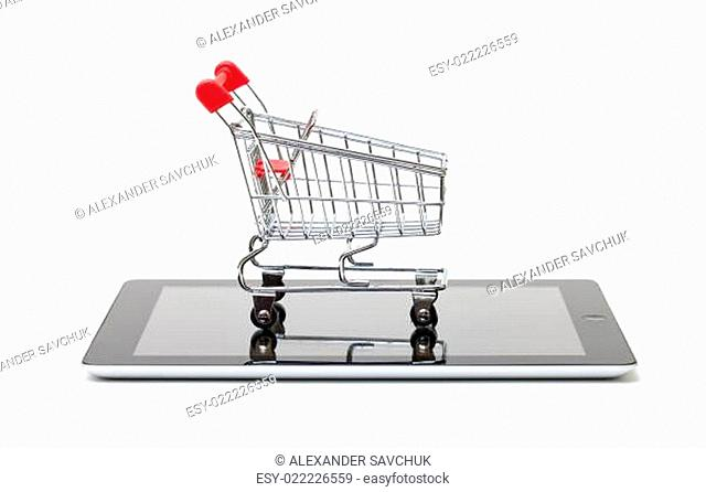 Shopping Cart over a Tablet PC