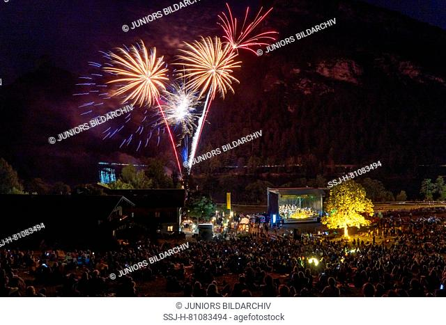 Open Air Concert of the Philharmonie Bad Reichenhall at Lake Thumsee near Bad Reichenhall with huge fireworks, Berchtesgaden, Germany