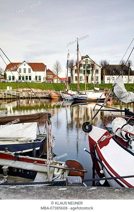 Museum harbour, Carolinensiel, harbor, East Frisia, Lower Saxony, Germany