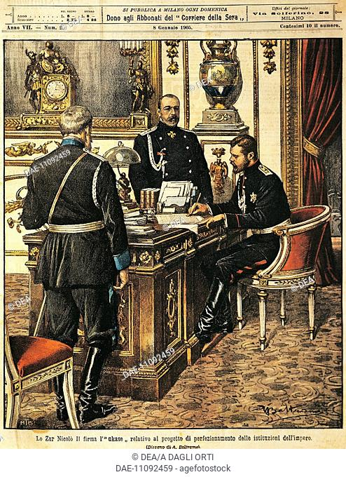 Tsar Nicholas II signing the project for institutional reforms. Illustrator Achille Beltrame (1871-1945), from La Domenica del Corriere, 8th January 1905
