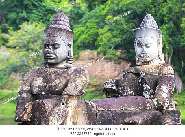 Statues at the South Gate of Angkor Thom, Siem Reap Cambodia