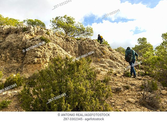 Hiking. Madrugalo, Almansa, Albacete, Castile-La Mancha, Spain