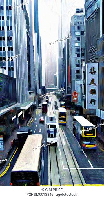expressionist filter view of buses and office buildings, Hong Kong, China