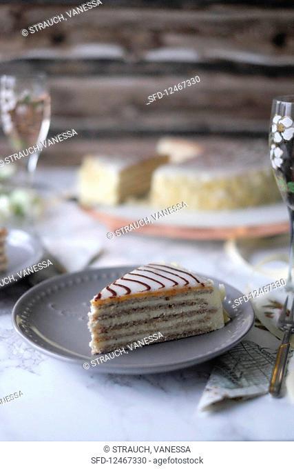 A slice of Esterhazy cake