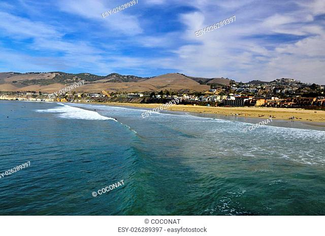 Pismo beach sand water pacific ocean on the coast of California