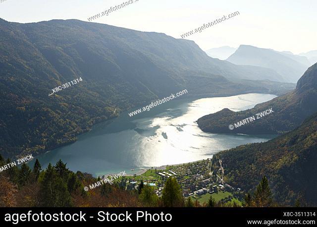 Molveno at lake Lago di Molveno in the Dolomiti di Brenta, part of UNESCO world heritage Dolomites. Europe, Italy, Trentino