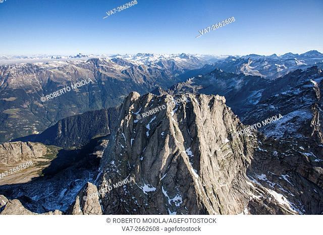 Aerial view of Piz Badile located between Masino and Val Bregaglia borders Italy Switzerland Europe