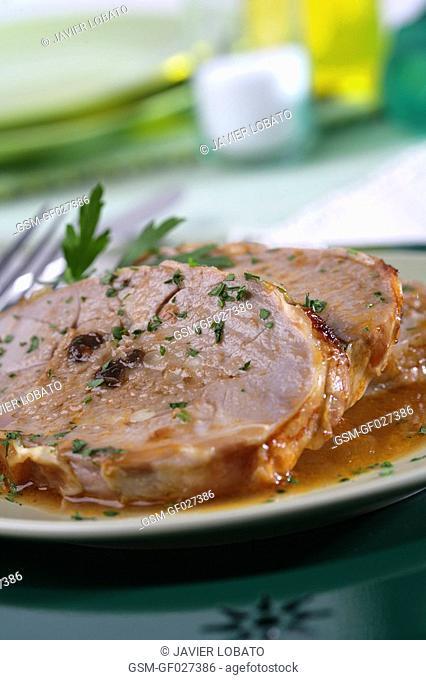 Stuffed and roasted lamb leg