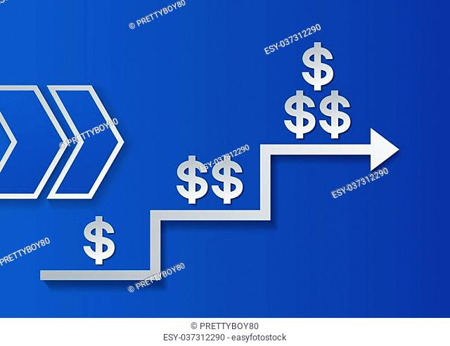 Dollar Signs and Arrows on Blue Background. Success Progress, Vector Illustration