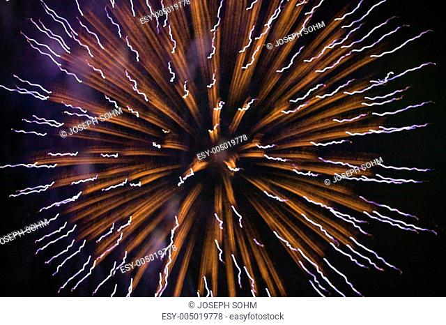 Fourth of July celebration with fireworks exploding, Independence Day, Ojai, California