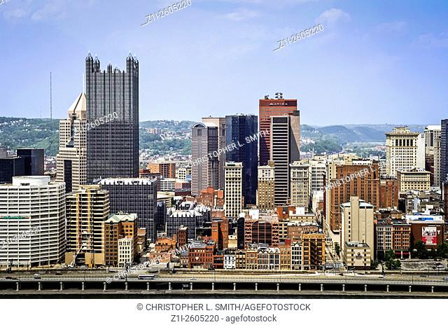 View from the top of Mount Washington looking at Pittsburgh Pennsylvania PA