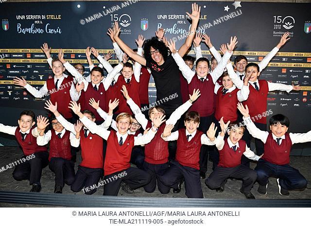 Giovanni Allevi with the children chorus during the charity show ' Una serata di stelle' for the Hospital Bambino Gesu', Paul VI Hall, Vatican City