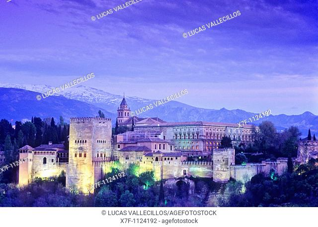 Alhambra and Sierra Nevada, Granada  Andalusia, Spain