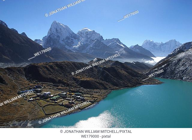 NEPAL Gokyo Peak -- A view of Gokyo - largely a collection of lodges rather than a village - from Gokyo Ri, with Mount Cholatse (6335m