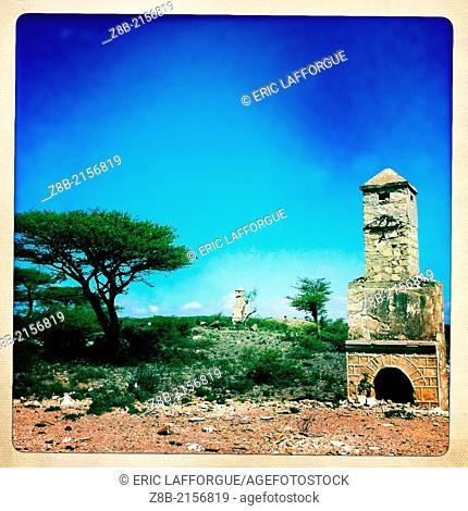 EL SHEIKH, SOMALILAND - DECEMBER 09: a chimney remaining from the ruins of a British colonial house, Somaliland is a former Somali province that declared...
