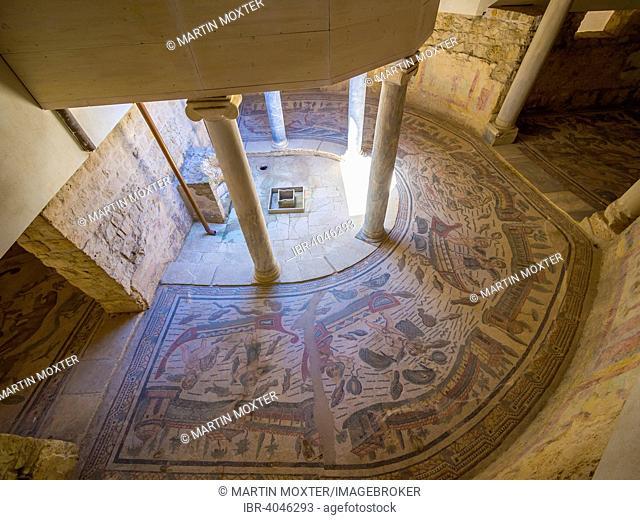 Ancient Roman mosaic, Villa Romana del Casale, UNESCO World Heritage Site, near Piazza Armerina, Province of Enna, Sicily, Italy