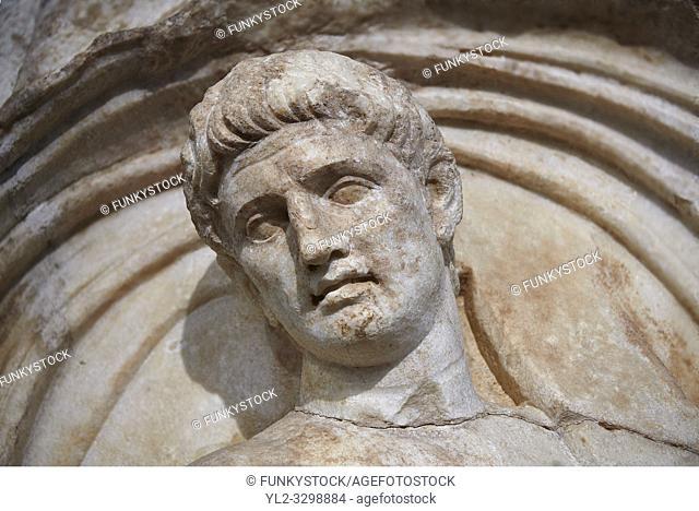 Close up of a Roman Sebasteion relief sculpture of a prisoner of Emperor Claudius as God of sea and land, Aphrodisias Museum, Aphrodisias, Turkey