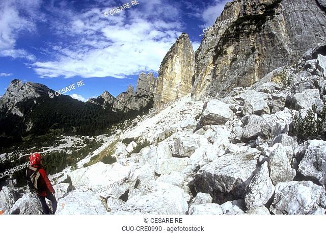 Trekking on Moiazza mountain, Civetta group, Zoldo Valley (Belluno province), Veneto, Italy