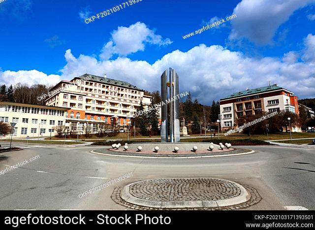 Hotel Palace, Luhanka travel agency office, Luhacovice, Zlin Region, Czech Republic, during the lockdown on March 15, 2021