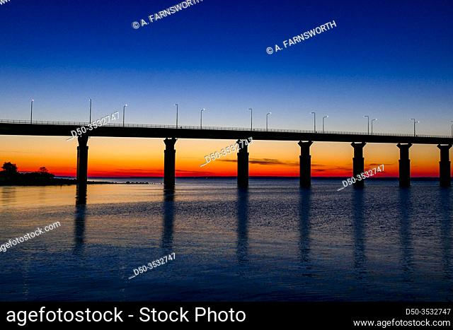 Farjestaden, Oland, Sweden The Oland bridge at sunrise