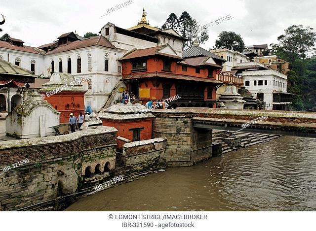 Cremation place, Ghats, of Pashupatinath at the holy Bagmati river, Kathmandu, Nepal