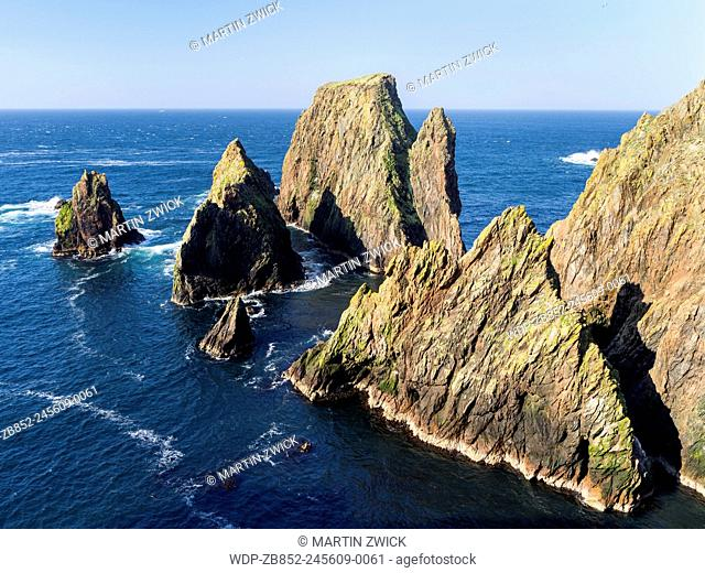 Landscape on West Shetland. the cliffs between Silwick and Westerwick. Europe, Great Britain, Scotland, Northern Isles, Shetland, May