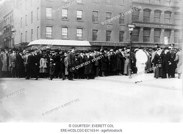 Triangle Shirtwaist Factory fire, crowds outside pier morgue, New York City, March 26, 1911